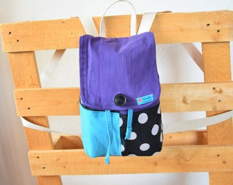 Small patchwork backpack, handmade nursery backpack, vegan and sustainably produced, single piece