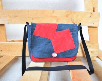 Small shoulder, handmade bag blue/red, upcycled, bag with patches, einzekpiece, gift idea