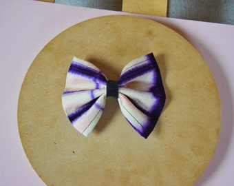 Large hair bow, handmade bow, purple/beige, accesoires, gift idea for girls, sustainably made