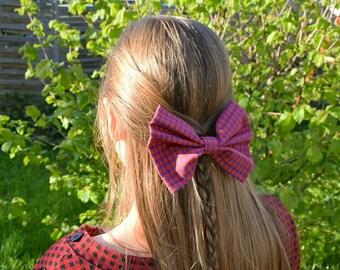 hair bow purple/orange checkered,bow handmade, gift idea for girls, unique