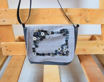 Handmade shoulder bag, bag embroidered with buttons, grey little denim bag, vegan and sustainably produced