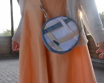 Handmade circle bag, unique shoulder bag, upcycling, gift idea for girls