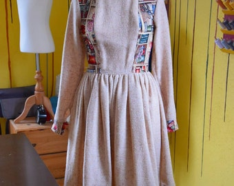 Handmade autumn dress, unique piece, beige/brown dress with pockets, retro design, fitted dress with long sleeves