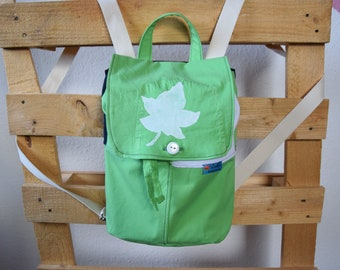 handemade backpack green/white, bag, upcycling, giftidea for girls