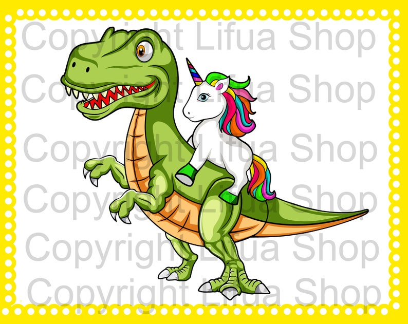 Unicorn Riding T-rex Dinosaur SVG And PNG   Etsy