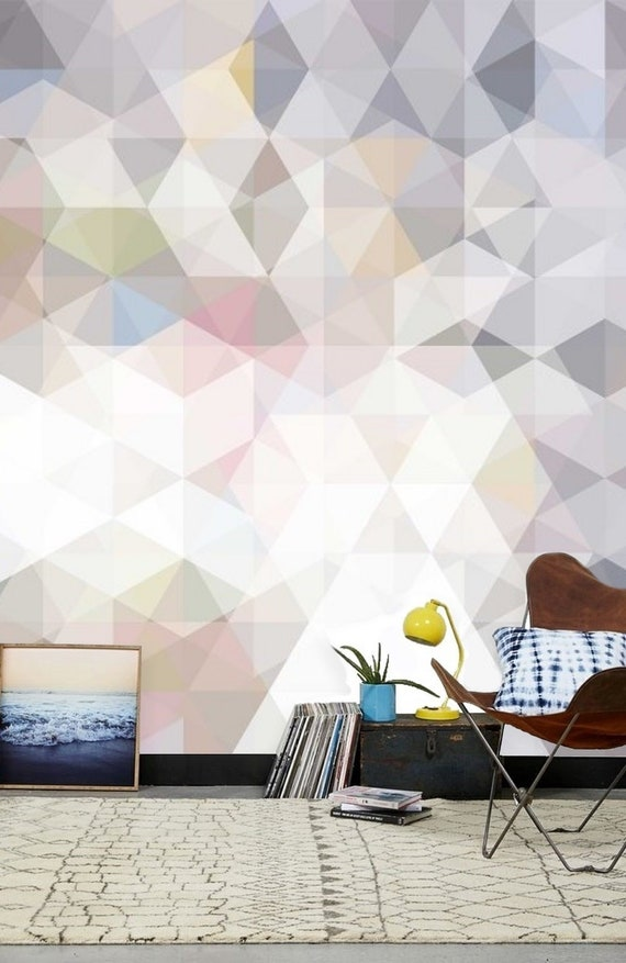 Temporary /& Traditional Geometric Design Peel and Stick Wall Mural Pastel Geometric Removable Wallpaper