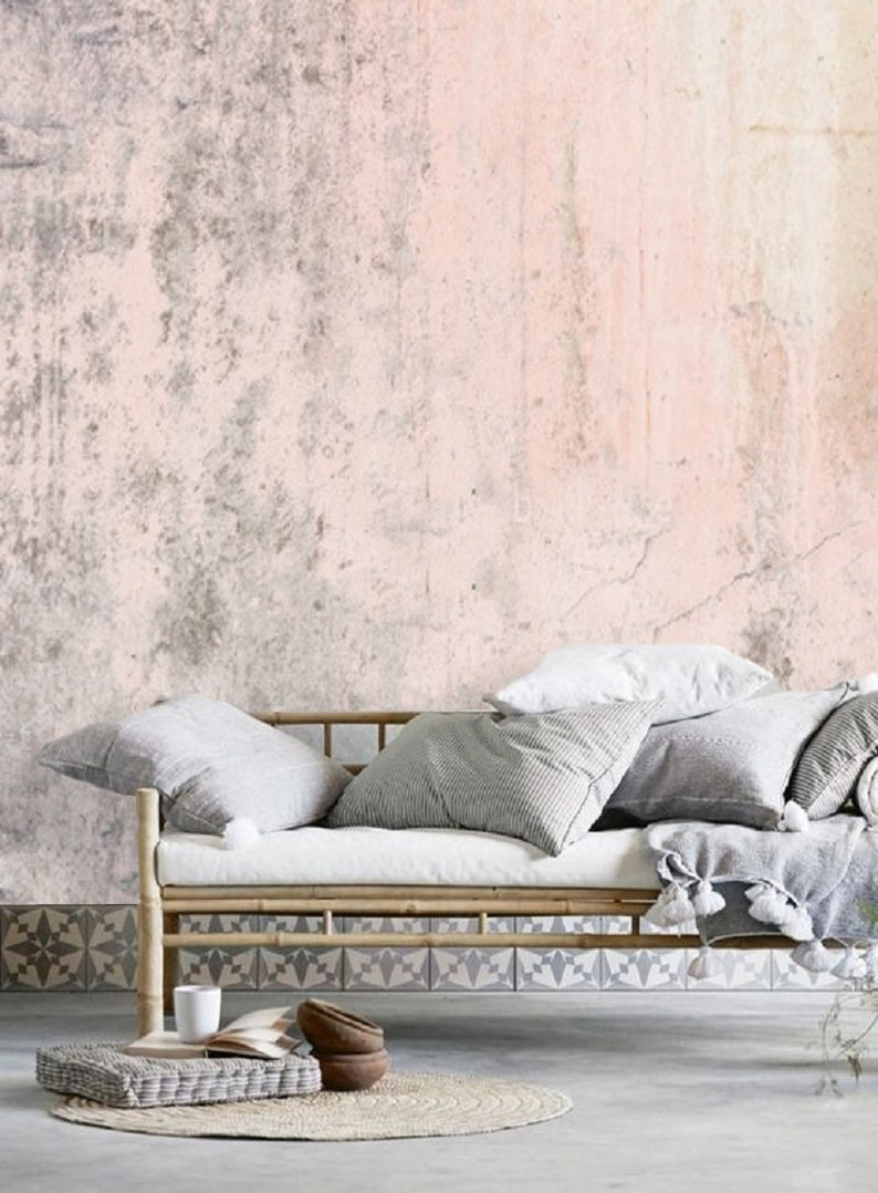 Blush pink wallpaper mural.