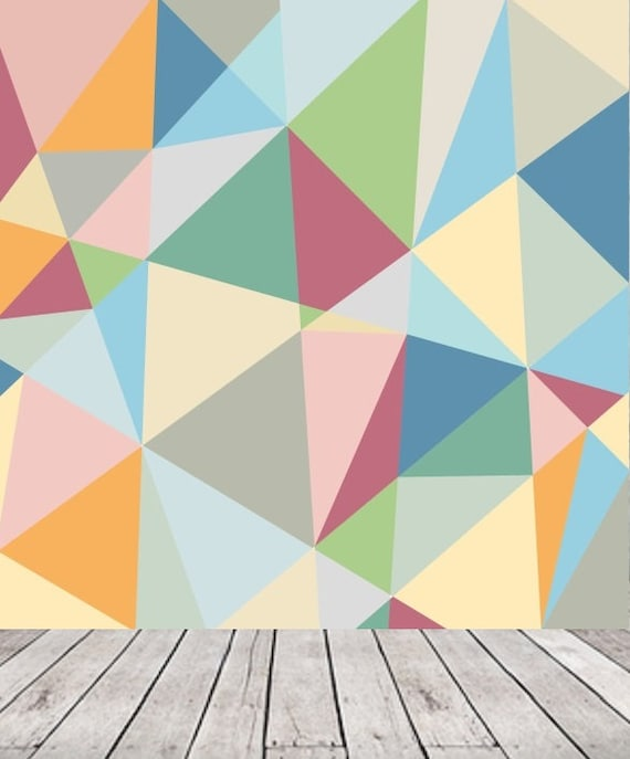 Retro Geometric Triangle Wallpaper Removable Wall Mural Temporary Wallpaper Scandinavian Style Colorful Pastel Pattern Peelstick 47