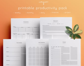 Minimal Productivity Planner Inserts – Monthly, Daily, Weekly, Budget, Project Pages, Homework, digital download, US Letter/A5 PDF (.RAR)