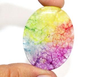 A148 Top quality natural rainbow solar quartz cabochon semi precious gemstone for jewellery making 32x22mm 38.85cts approx...