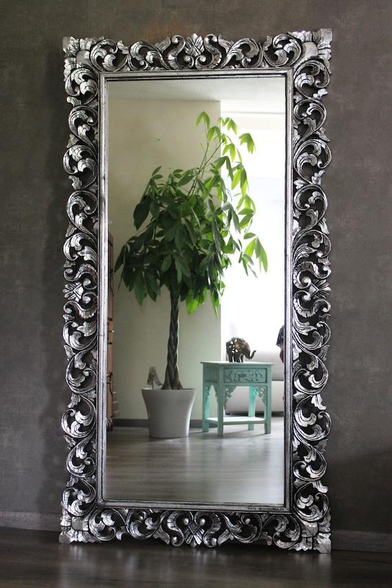 Large Wall Mirror Baroque Mirror Rococo Solid Wood Silver Etsy