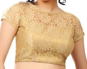 cff90a9a00f572 Ready made Saree Blouse, Golden Net Padded Blouse, Net with Tissue lining  Sari Blouse, Golden Blouse, Designer Blouse, Golden Sari Blouse