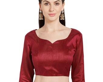 703fd40c29d596 Ready Made Saree Blouse, Maroon Long Sleeve Plain Padded Back Hook Sari  Blouse, Padded Saree Blouse, Designer Blouse, Maroon Blouse