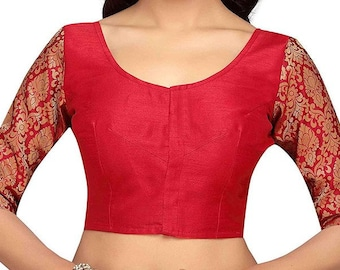 c019d9f996bde7 Ready made Saree Blouse, Red Dupion Silk with Brocade Elbow Sleeves Sari  Blouse, Bollywood Blouse, Designer Blouse, All Size Blouses