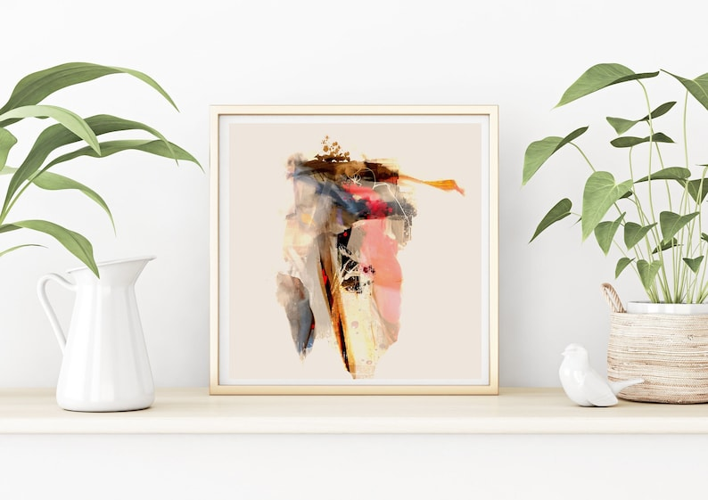 Square abstract printable wall art with soft pink and beige pastel tones Modern abstract wall decor for instant download