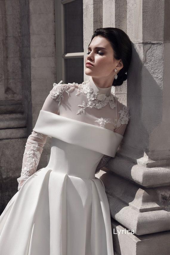 bodysuits wedding dress Lyrica mikado wedding dress long | Etsy