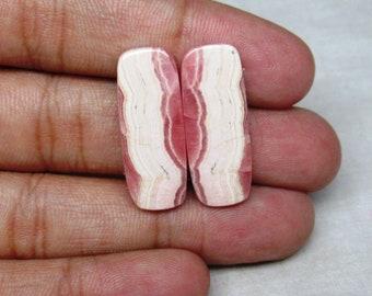 Rhodochrosite Designer Baguette  Cabochon Flat Back Gemstone Pair 11 X 28 X 3  mm Pink Rhodochrosite Pair Cabochon Earring #3931 Christmas