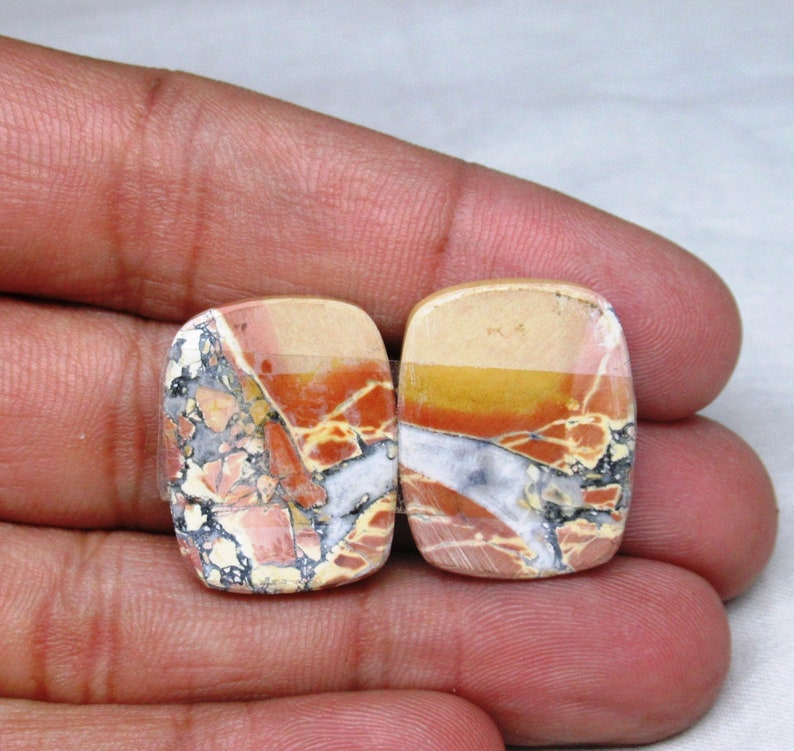 Maligano Jasper Baguette Shape Pair 18 x 24 x 4 mm Loose semi precious gemstone Pair flat back cabochon natural gemstone cabochon  #3019