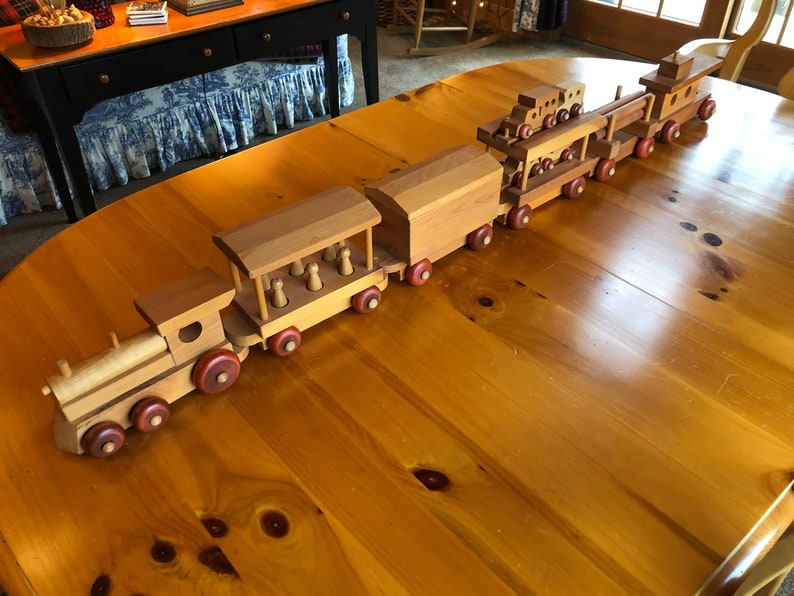 Large Wooden Train Set Made By The Wooden Toy Company Oshawa Canada 1970s Six Beautiful Wooden Cars Each Train Car Does Something