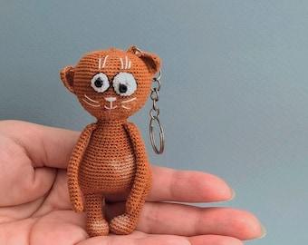 Plush Toy, Orange cat keychain, crochet stuffed animals. Animal Lovers Gifts. Mini amigurumi.