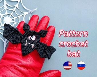 Crochet bat, pattern pdf, bat plush, crochet easy step by step drawing, Halloween decoration,  how crochet bat tutorial.