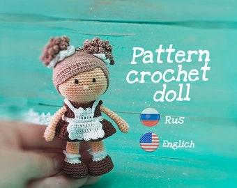 Amigurumi patron crochet mini doll,  Amigurumi Pattern, girl in school uniform, easy tutorial, PDF English