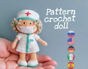 Amigurumi Patrons, Miniature crochet nurse, Amigurumi Pattern, Tutorial,  PDF English, German, Italian, Spanish