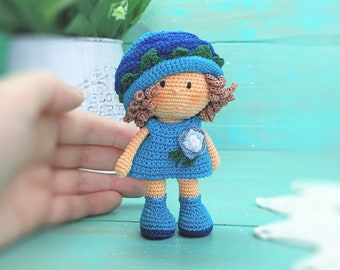 Tiny doll 3.5 inch, Soft  toy dolls handmade, Plush Stuffed Kaychain, girl toy, doll in blue Rose dress, gifts for girlfriend