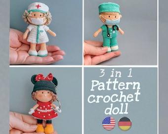 Amigurumi Patrons 3 in 1. Miniature Doctor+Princess Minnie+ Nurses male. Tutorial,  PDF English, German. Crochet doll pattern