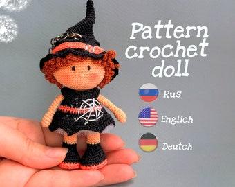 Patrones Halloween, Amigurumi pattern miniature crochet Witch doll. Tutorial PDF in English, German, Russian