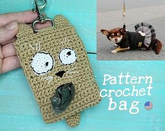Dog Waste Bag Holder, Dog poop bag holder, Crochet Pattern PDF, Bag Storage and Dispenser, Leash Accessory