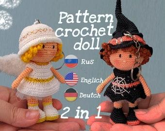 Set of 2 patterns Amigurumi. Miniature angel doll, tiny witch . Crochet mini doll.  PDF. Tutorials. Amigurumi pattern.