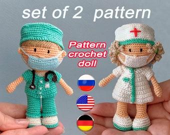 Amigurumi pattern. Miniature nurse doll, veterinary Patrons, vet doll. Simple pattern. Crochet mini doll. Tutorial. PDF English Deutsche