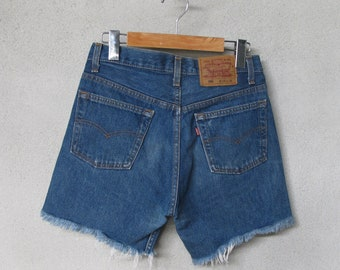 484b4208 90's Levi Strauss 501 Cut Off Blue Jeans W28 Vintage Levis High Waisted  Frayed Denim Cut Off Shorts Button Fly Made In USA