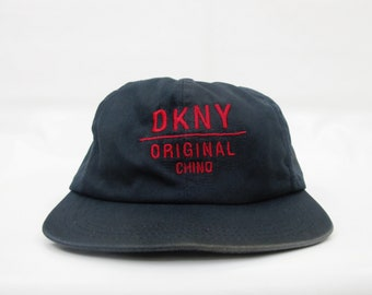 Vintage 90 s DKNY Original Chino Cap Faded Navy Blue Distressed Donna Karan  New York Hat Made in USA 929000bcb45f