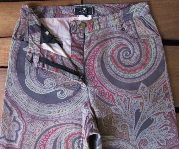 90's Etro Paisley Full Print Flared Trouser W25 V… - image 4