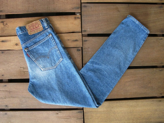 90's Levi Strauss 505 High Waist Cut Off Faded Light Blue Mom Jeans W31 Vintage Levis High Rise Custom Crop Denim Short Made In USA
