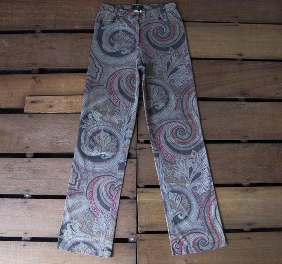 90's Etro Paisley Full Print Flared Trouser W25 V… - image 2