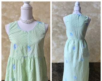 Vintage Gingham Light Green Sleeveless Simply Basic Size Medium Nightgown  Duster House Coat 65e85202a