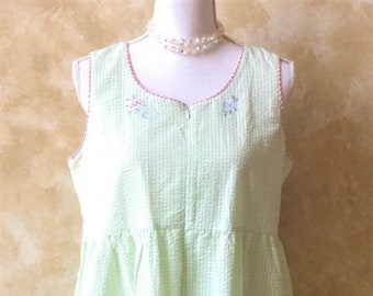 Vintage Gingham Light Green Sleeveless Size Medium Simply Basic Zip Up  Nightgown House Coat Duster 3bc3617c6