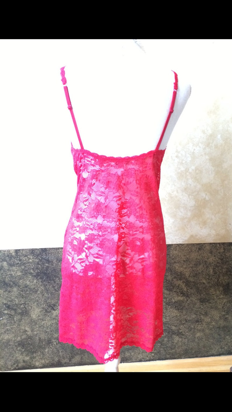 Beautiful Vintage Long Red Lace Tank TopLingerie Size MediumLarge