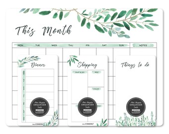 Magnetic fridge Calendar PACKAGE with 1 write and wipe kit/Whiteboard planner/WATERCOLOUR LEAVES/Housewarming gift