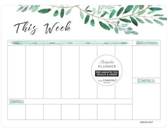 Magnetic planner/fridge Calendar/fridge planner/Whiteboard planner/Large Planner/WATERCOLOUR LEAVES/Christmas gift