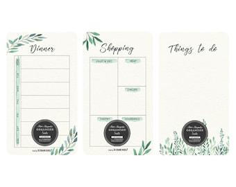 Mini Magnetic fridge organiser/Suite of 3/To Do/ Dinner/Shopping/WATERCOLOUR LEAVES/Mother's Day gift