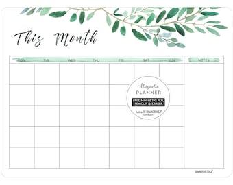 Fridge planner/Magnetic planner/fridge Calendar/MONTHLY whiteboard planner/Large Planner/28cm x 38cm/WATERCOLOUR LEAVES/Christmas gift
