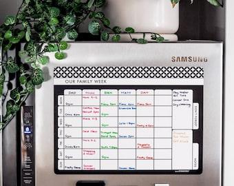 Magnetic Planner/Fridge planner/Family Week planner/MONOCHROME