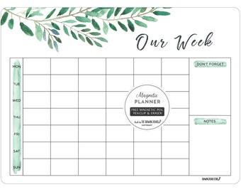 Magnetic fridge Calendar/OUR WEEK whiteboard planner/Large Planner/28cm x 38cm/WATERCOLOUR Calendar/Housewarming gift
