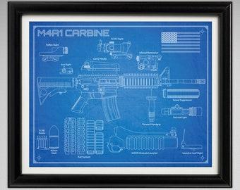 M4A1 Carbine - Da Vinci or Blueprint Illustration - 8x10 or 16x20 inches