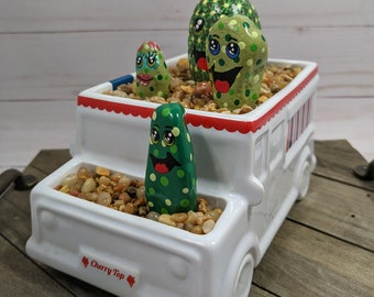 Hand Painted Cactus Potted inside Adorable Ceramic YELLOW ROW BOAT Container ~ Sculpture Statue Assemblage ~ Valentine/'s Day Gift sku0025