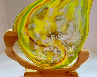 Home Decor Collectible Center Piece Colorful Accent Colorful Display Blown Glass Bowl Decorative Accent Glass Art Display Art